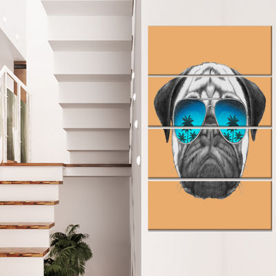 Designart Funny Dog With Blue Glasses Animal Canvas Art Print - 4 Panels