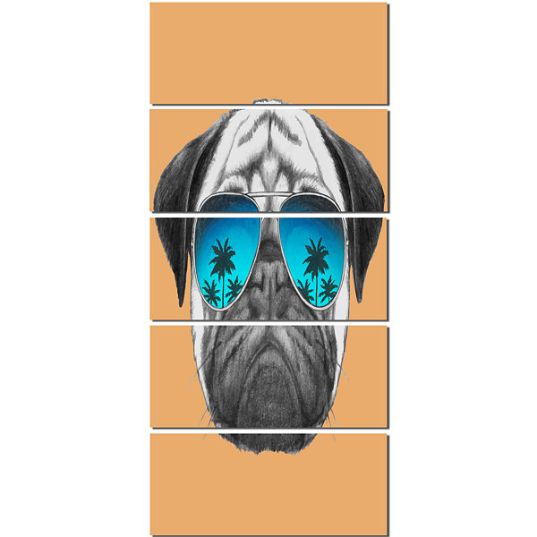 Designart Funny Dog With Blue Glasses Animal Canvas Art Print - 5 Panels