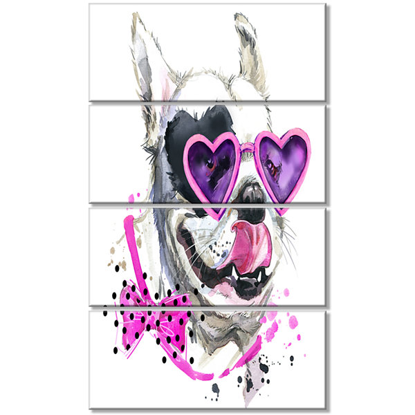 Funny Dog With Heart Glasses Animal Canvas Wall Art - 4 Panels