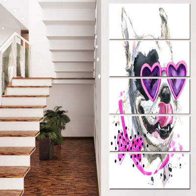 Designart Funny Dog With Heart Glasses Animal Canvas Wall Art - 4 Panels