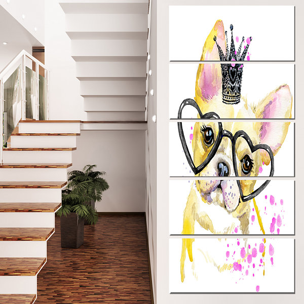 Designart Funny Dog With Large Glasses Contemporary Animal Art Canvas - 4 Panels
