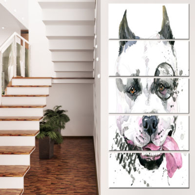 Designart Funny Dog With Single Lens ContemporaryAnimal ArtCanvas - 4 Panels