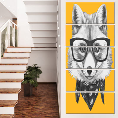 Designart Funny Fox With Formal Glasses Contemporary AnimalArt Canvas - 5 Panels