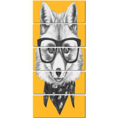 Funny Fox With Formal Glasses Contemporary AnimalArt Canvas - 5 Panels