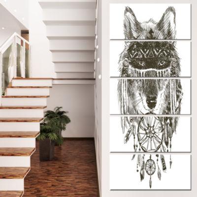 Funny Indian Wolf Warrior Watercolor ContemporaryAnimal Art Canvas - 5 Panels