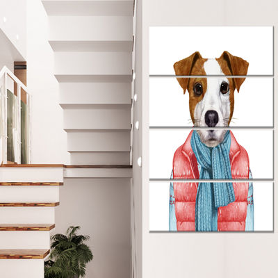 Designart Funny Jack Russell In Formal Suit AnimalCanvas Art Print - 4 Panels