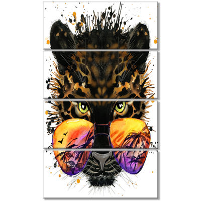 Designart Funny Jaguar With Sunglasses Contemporary Animal Art Canvas - 4 Panels