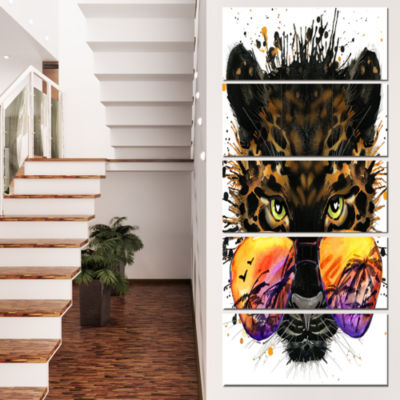 Designart Funny Jaguar With Sunglasses Contemporary Animal Art Canvas - 5 Panels