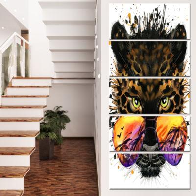 Funny Jaguar With Sunglasses Contemporary Animal Art Canvas - 5 Panels