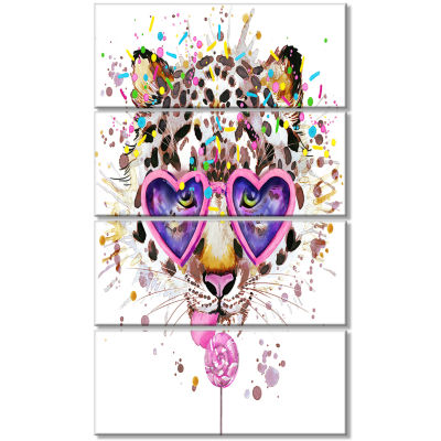 Funny Leopard With Heart Glasses Oversized AnimalWall Art - 4 Panels
