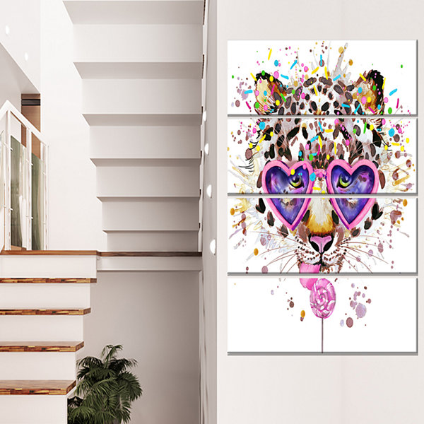 Designart Funny Leopard With Heart Glasses Oversized AnimalWall Art - 4 Panels