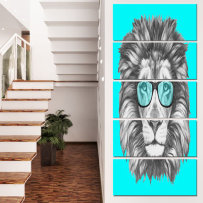Designart Funny Lion With Blue Glasses Animal Canvas Art Print - 4 Panels