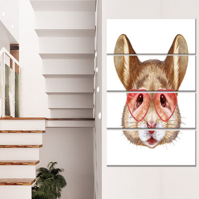 Designart Funny Mouse With Heart Glasses Animal Canvas Art Print - 4 Panels