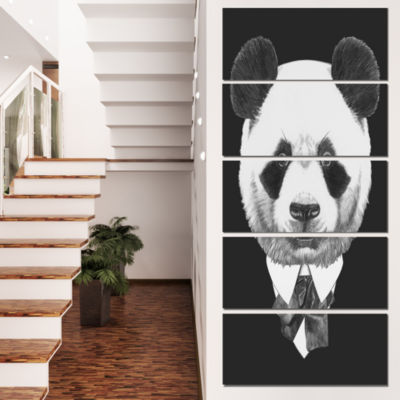 Designart Funny Panda In Suit And Tie Animal Canvas Art Print - 4 Panels