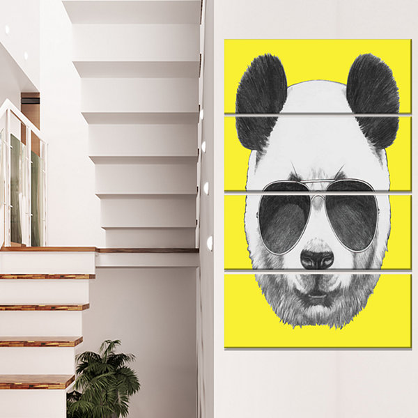 Designart Funny Panda With Sunglasses Animal Canvas Art Print - 4 Panels