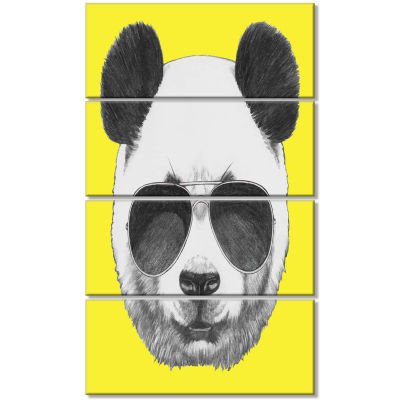 Funny Panda With Sunglasses Animal Canvas Art Print - 4 Panels