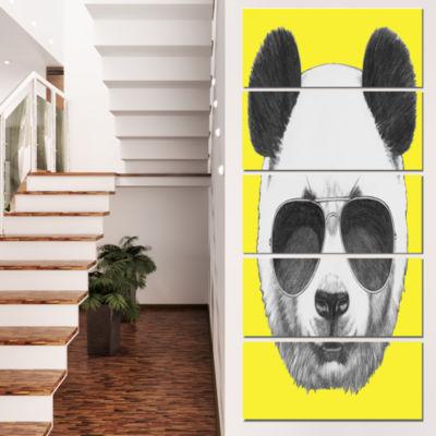 Designart Funny Panda With Sunglasses Animal Canvas Art Print - 5 Panels