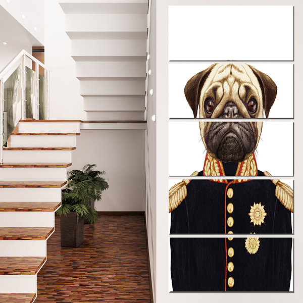 Designart Funny Pug Dog In Military Uniform AnimalCanvas Art Print - 4 Panels