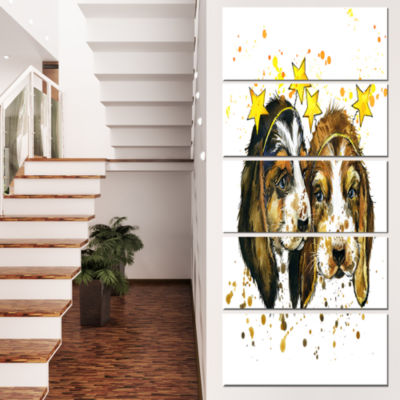 Designart Funny Puppy Dogs Watercolor ContemporaryAnimal Art Canvas - 4 Panels