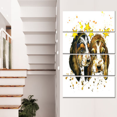 Funny Puppy Dogs Watercolor Contemporary Animal Art Canvas - 4 Panels