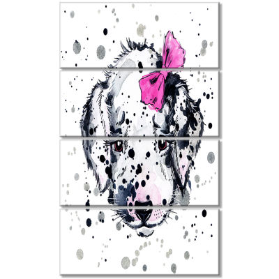 Funny Puppy With Pink Hair Band Contemporary Animal Art Canvas - 4 Panels
