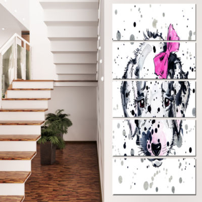 Funny Puppy With Pink Hair Band Contemporary Animal Art Canvas - 5 Panels