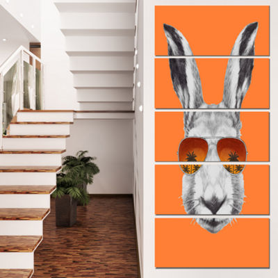 Designart Funny Rabbit With Sunglasses Animal Canvas Art Print - 4 Panels