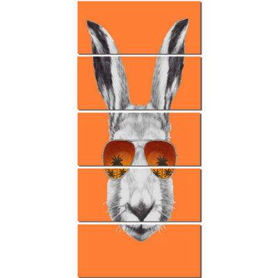Designart Funny Rabbit With Sunglasses Animal Canvas Art Print - 5 Panels