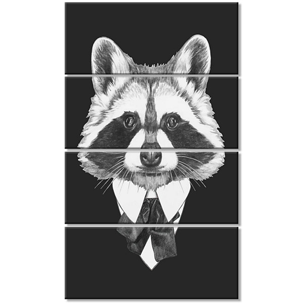 Designart Funny Raccoon In Suit And Tie Animal Canvas Art Print - 4 Panels