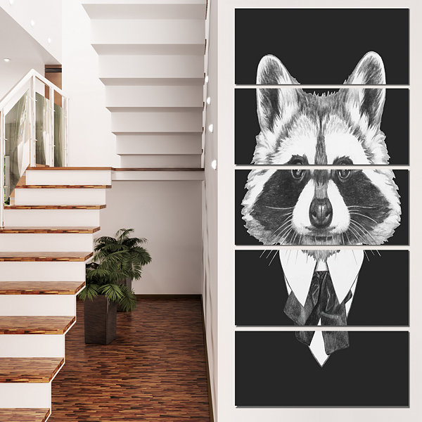Designart Funny Raccoon In Suit And Tie Animal Canvas Art Print - 5 Panels