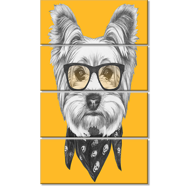 Designart Funny Terrier Dog With Glasses Animal Canvas Art Print - 4 Panels