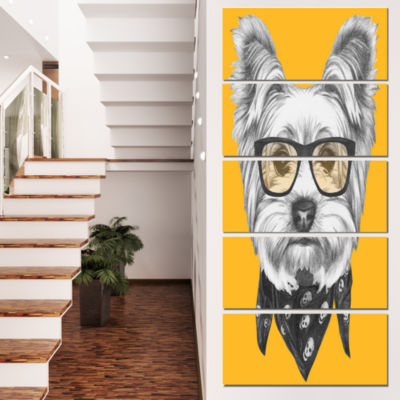 Funny Terrier Dog With Glasses Animal Canvas Art Print - 5 Panels