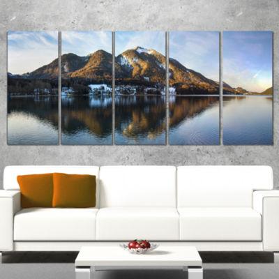 Designart Fuschlsee In The Salzkammergut Large Seascape ArtCanvas Print - 4 Panels