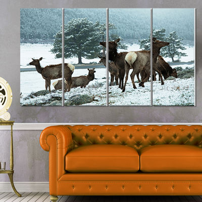 Designart Gang Of Deer In Rocky Mountains Extra Large Landscape Canvas Art - 4 Panels