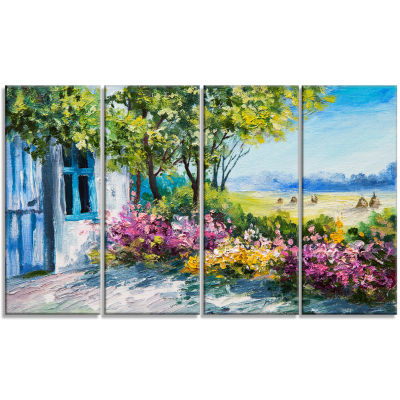 Designart Garden Near The House Landscape Art Print Canvas -4 Panels