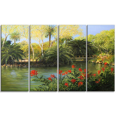 Designart Garden Of Eden Landscape Canvas Art Print - 4 Panels