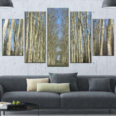 Designart Gardens Of Palace Versailles Modern Forest WrappedCanvas Art - 5 Panels
