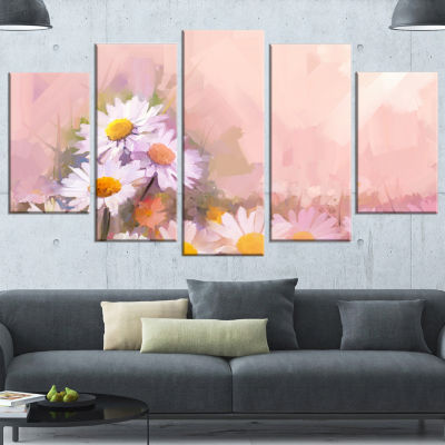 Designart Gerbera Flowers On Soft Color Back Floral WrappedCanvas Art Print - 5 Panels