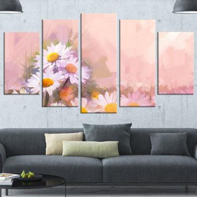 Designart Gerbera Flowers On Soft Color Back Floral Canvas Art Print - 5 Panels
