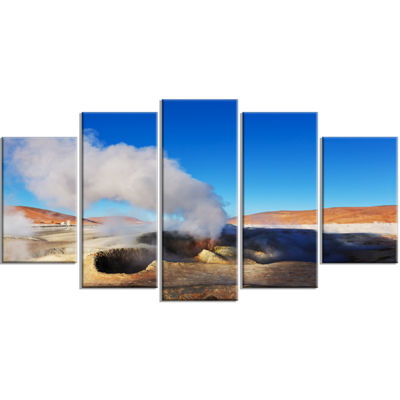 Designart Geyser Sol De Manana Bolivia Extra LargeLandscapeWrapped Canvas Art - 5 Panels