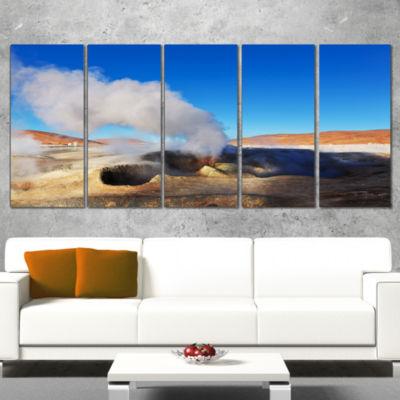 Designart Geyser Sol De Manana Bolivia Extra LargeLandscapeCanvas Art - 5 Panels