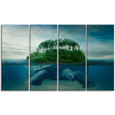 Giant Turtle Carrying Island Oversized Abstract Canvas Art - 4 Panels