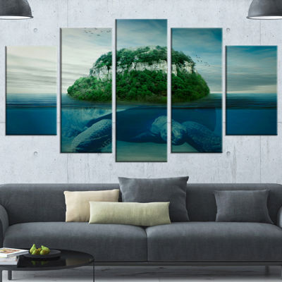 Designart Giant Turtle Carrying Island Oversized Abstract Wrapped Canvas Art - 5 Panels