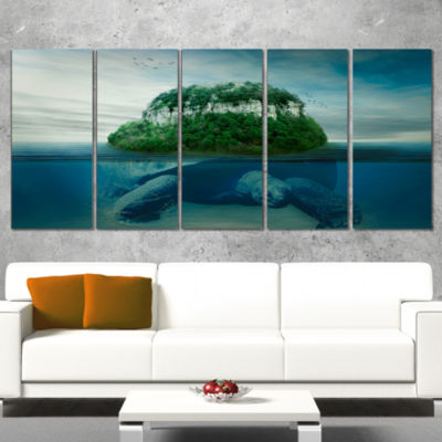 Giant Turtle Carrying Island Oversized Abstract Canvas Art - 5 Panels