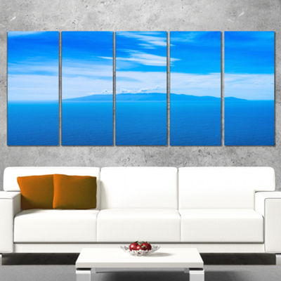 Designart Giglio Island Aerial View From Argentario Extra Large Seashore Canvas Art - 4 Panels