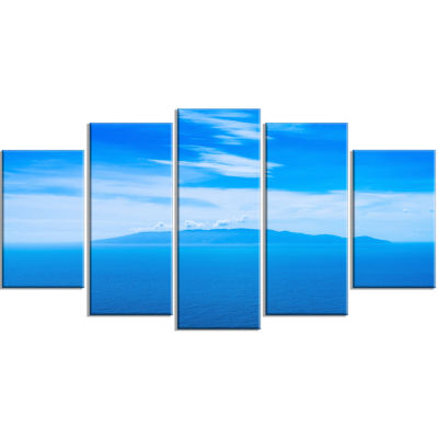 Giglio Island Aerial View From Argentario Extra Large Seashore Wrapped Canvas Art - 5 Panels