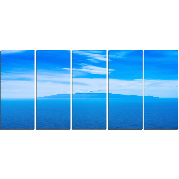 Designart Giglio Island Aerial View From Argentario Extra Large Seashore Canvas Art - 5 Panels