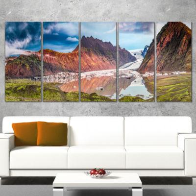 Designart Glacier And Lake At Sunrise Panorama Extra Large Seashore Wrapped Canvas Art - 5 Panels