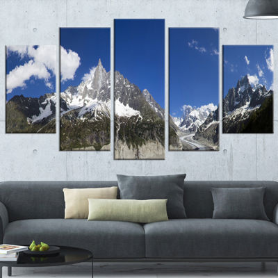 Designart Glacier Nearby Chamonix Panorama Landscape ArtworkWrapped Canvas - 5 Panels