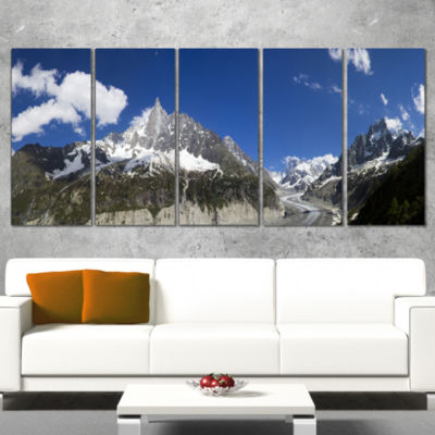 Glacier Nearby Chamonix Panorama Landscape ArtworkWrapped Canvas - 5 Panels